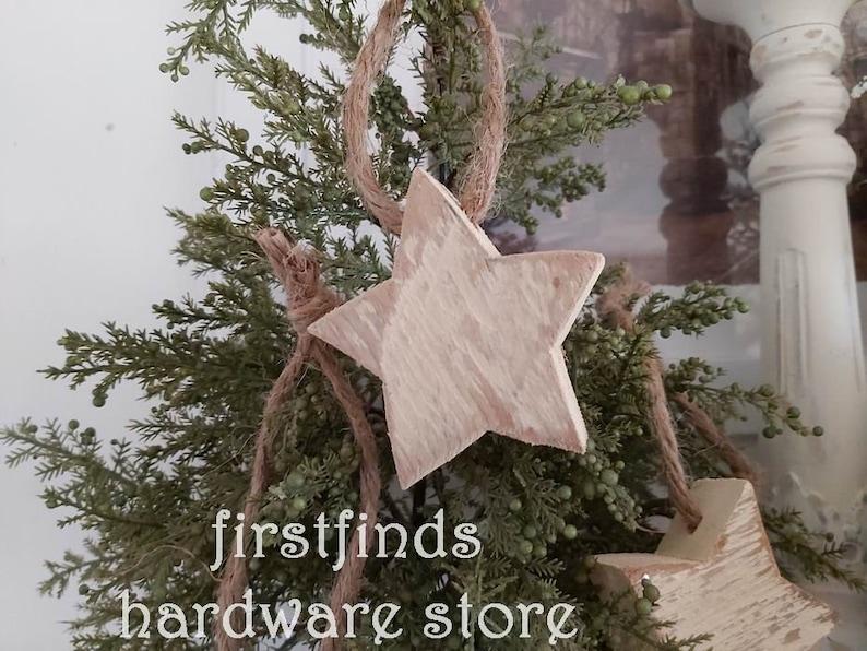SET OF 4 Christmas Star Tree Ornaments Hand Cut Vintage Wood image 0