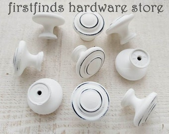 Farmhouse Distressed White Knobs Kitchen Cabinet Pulls Painted Shabby Chic Furniture Hardware Dresser Drawer Cupboard Door Screws Included