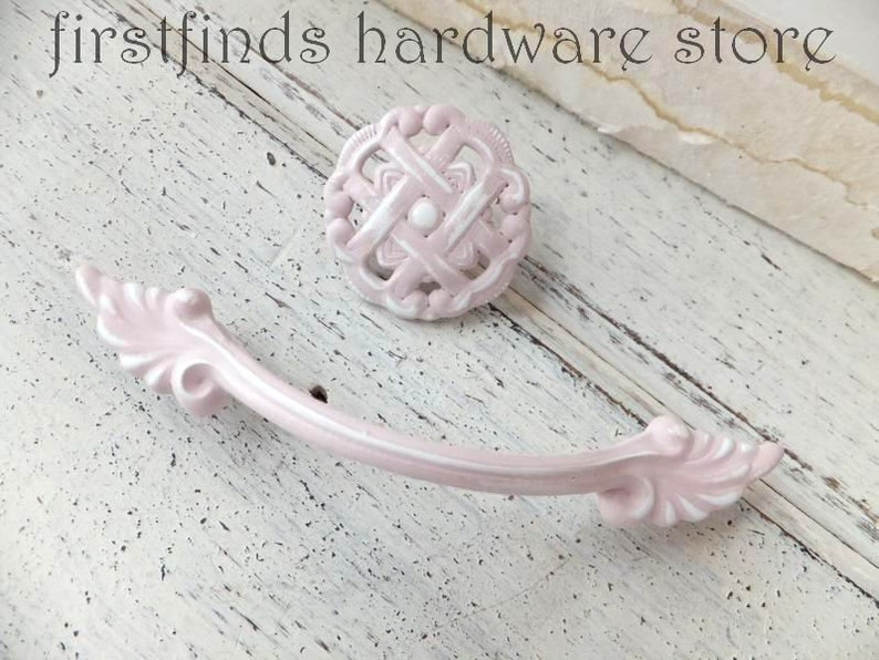 SETS OF 2 Pink & White Distressed Handles  Knobs Shabby Chic image 0