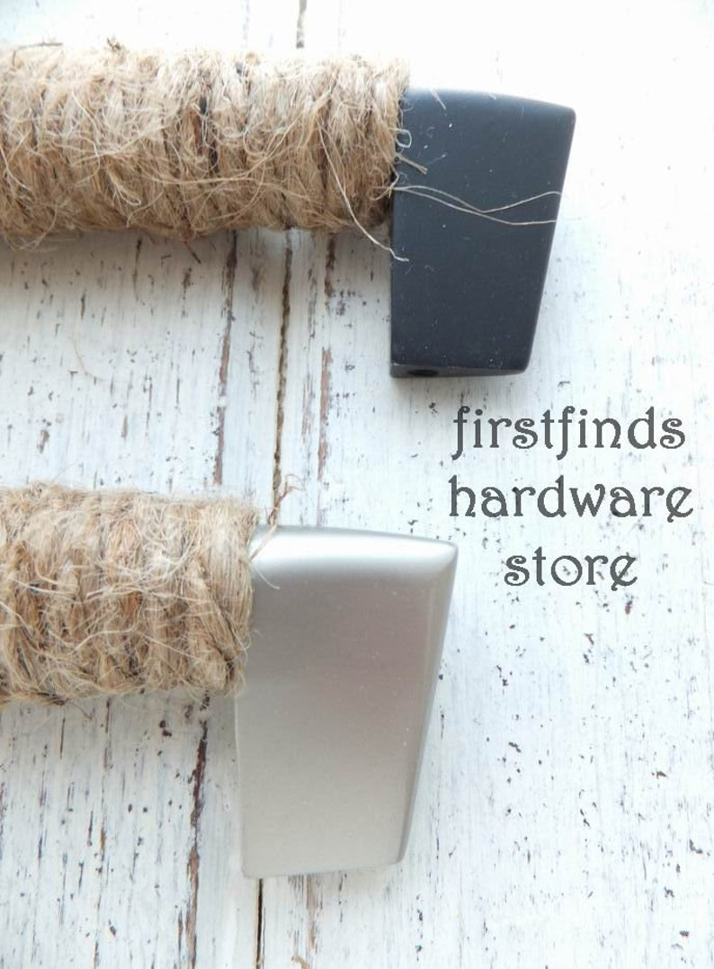 Rope Door Handle Large Nautical Cabinet Pull Beach Farmhouse Kitchen Cupboard Hardware Silver Black Metal Screws Included 9inch