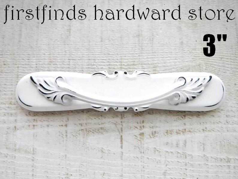 SETS OF 2 Shabby Chic White Drawer Pulls Cabinet Handles image 0