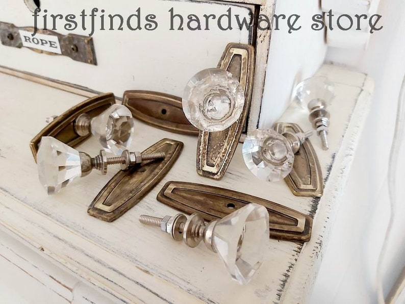 READY TO SHIP Glass Knob Vintage Metal Back Plate Cabinet Door image 0