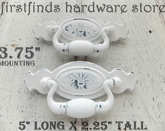 SET OF 2 Chippendale Swing Handles Distressed White Shabby Chic Furniture Hardware Painted Drawer Cabinet Pulls Screws Included 3.75inch