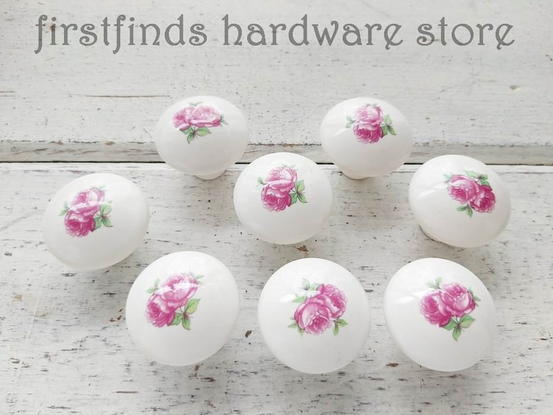 SET OF 8 Pink White Rose Knobs Cabinet Drawer Pulls Shabby image 0