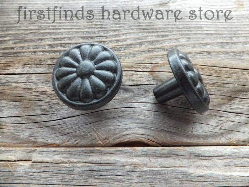 Dark Bronze Farmhouse Knobs Kitchen Cabinet Door Hardware image 0