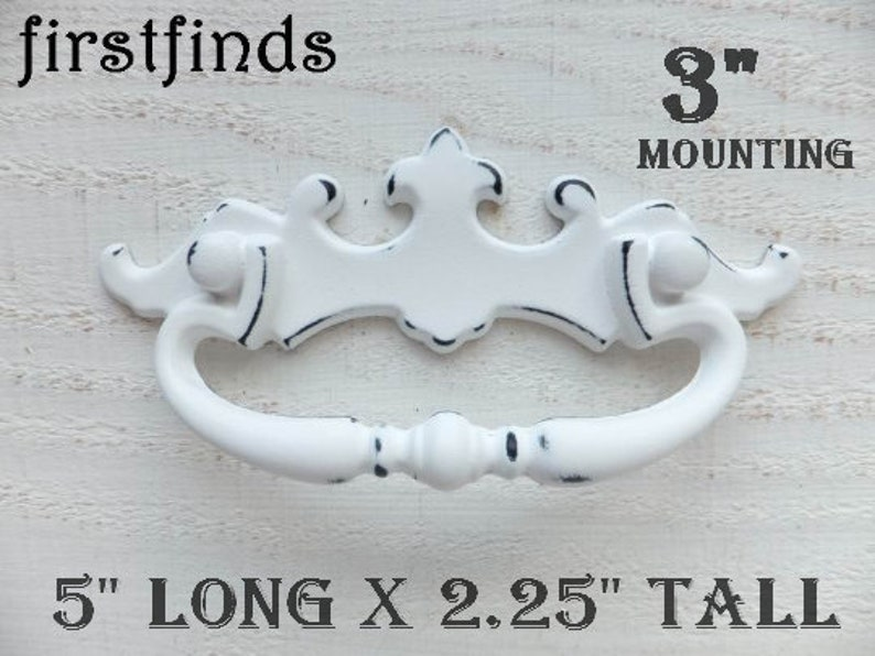 White Shabby Chic Fixed Handle Drawer Pull Dresser Hardware image 0