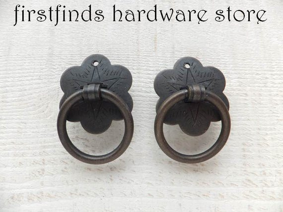 2 Ring Pulls Bronze Iron Furniture Flower Plate Dresser Drawer | Etsy