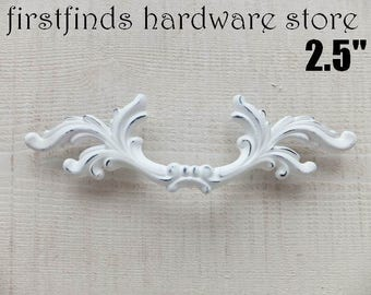 SET OF 2 White Shabby Chic Drawer Pulls French Provincial Handles Fancy Furniture Hardware Door Cupboard Cottage Kitchen Cabinet 2.5inch