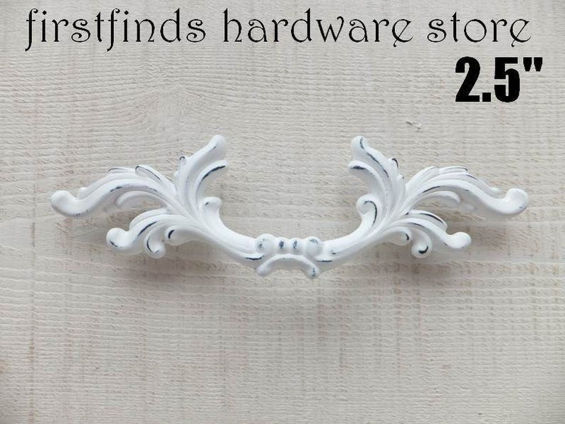 SET OF 2 White Shabby Chic Drawer Pulls French Provincial image 0