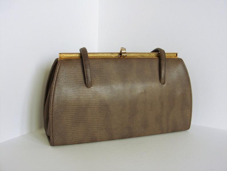 921ecf08e1e3d Brown Fifties Handbag Purse Ladies Vintage Bag Snakeskin