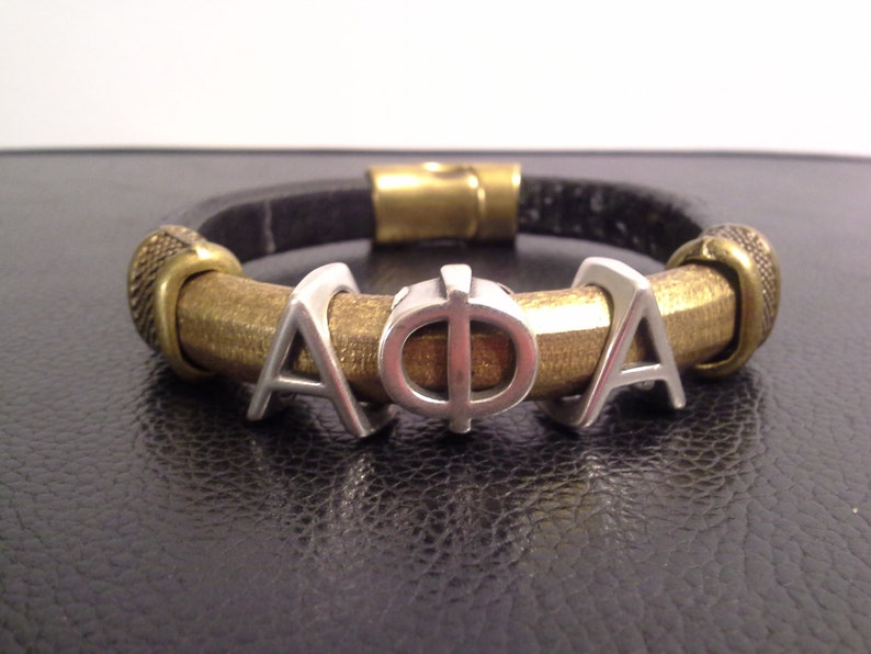 Divine 9 ALPHA PHI ALPHA Greek Letter silver slider Fraternity Bracelet  Leather Black & Gold