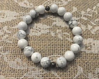 12mm Howlite Bracelet | Natural Stone | Gift for Her | Mothers Day Gift | Healing Jewelry