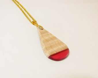 Red Resin Necklace, Maple Wood Jewelry,  Resin Pendant, Wood and Resin Jewelry, Geometric Jewelry, Handmade Jewellery