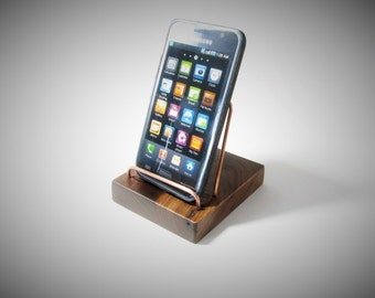 Black Walnut OtterBox case capable iphone stand, iphone dock, wood Android stand, cell phone stand.