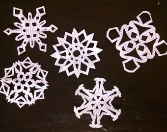Hand Cut Paper Snowflakes (Set of 10)