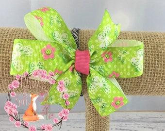 Green Pink White Butterflies