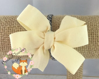 Cream Ivory Antique White Solid Hair Bow