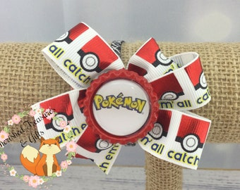 Red Black White Yellow Gotta Catch Them All Pokemon Inspired Hair Bow