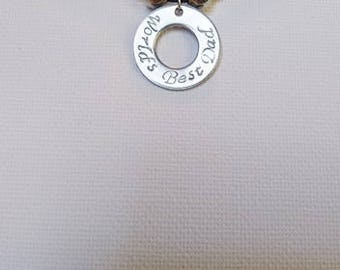 World's Best Dad Hand Stamped Washer Disc Sliding Leather Cord Necklace
