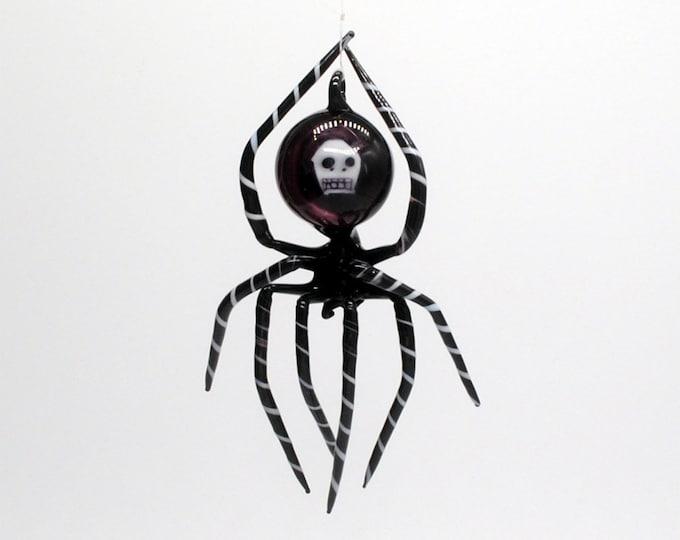 Featured listing image: Medium Black Spider with Skull Abdomen
