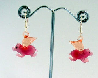 Glass Flying Pig Earrings