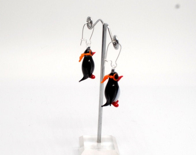 Glass Pilot Penguin Earrings