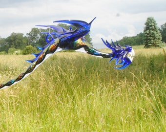 36-999 Long tail Dragon with Dichroic Glass - Cobalt