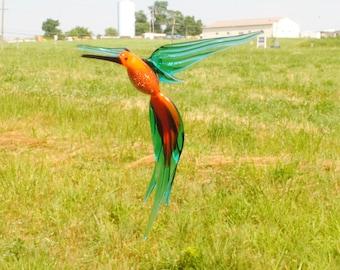 36-224 Aventurine Hummingbird Orange and Teal