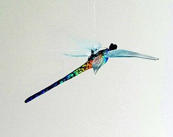 e36-143 Dichroic Dragonfly Ornament