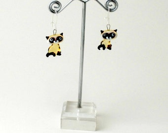 Miniature Siamese Cat Earrings (1 pair of earrings for price shown)