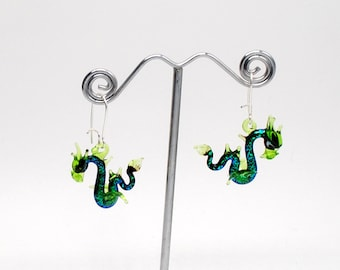 Glass Sea Dragon Earrings with Dichroic glass