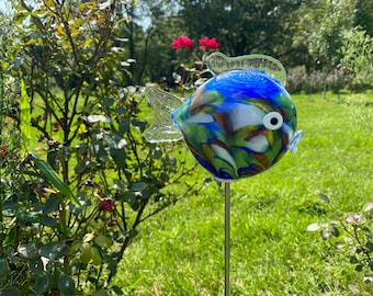 Small Fish Garden Sculpture - Blue