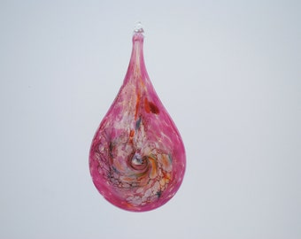 e00-66 Flat Iridescent Tear Drop Ornament Rosa.