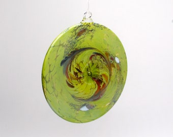 e00-65 Flat Iridescent Disc Ornament Lime Green