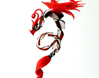 36-998 Dragon with long, curved spiral tail - Red