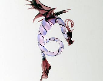 36-998 Dragon with long, curved spiral tail - Purple