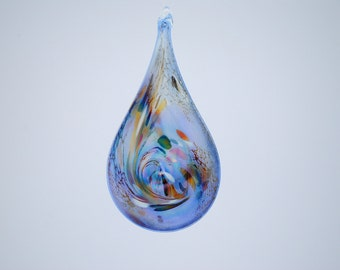e0065 Flat Blue Teardrop Iridescent Suncatcher Ornament.