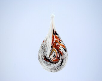 e00-66 Flat Iridescent Tear Drop Ornament Red