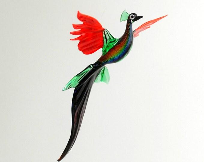 Peacock in flight