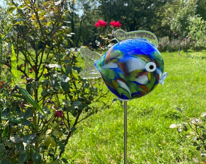 Small Fish Garden Sculpture - Blue
