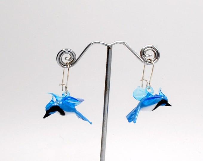 Glass Blue Jay Earrings