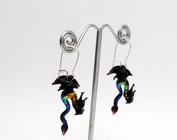 Glass Dragon Earrings with Dichroic glass