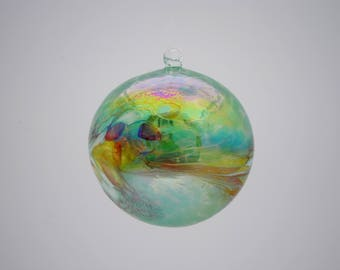 e00-64 Extra Large Iridescent Ornament Green with colorful chips melted on top