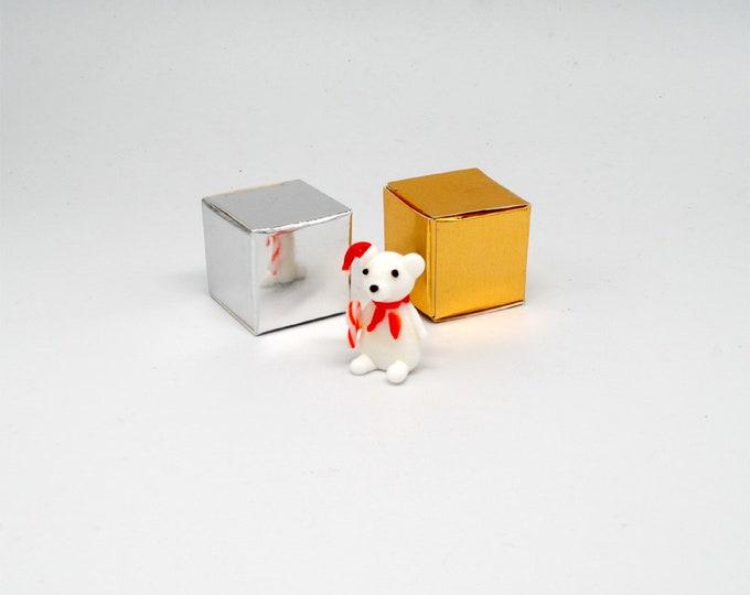 Miniature Christmas Polar Bear with Candy Cane