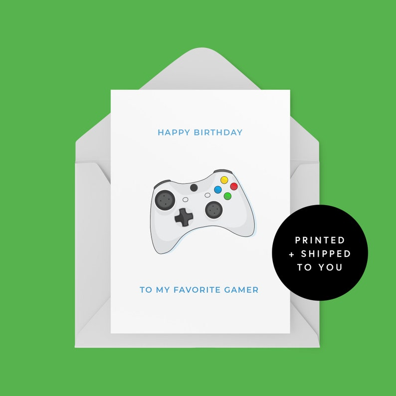 gamer birthday card xbox gaming happy birthday  etsy