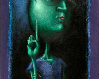Lowbrow Pop surrealism limited edition art print by Pete Gorski titled: Just One Minute Please