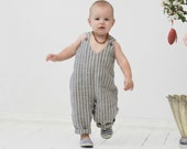 Baby romper Baby boy linen romper Toddler boy Overall Baby boy diaper cover Baby boy clothes 1st birthday outfit Baby jumpsuit Navy striped