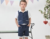 Ring bearer outfit Toddler boy vest and shorts Wedding party suit Boys linen suit Family Photo Baptism Birthday party Page boy outfit