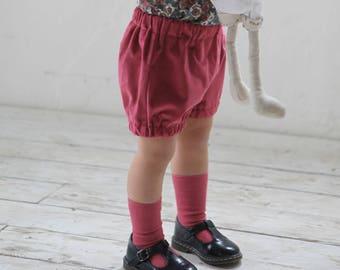Baby girl bloomers Baby girl velvet bloomers Baby girl shorts Baby girl diaper cover Toddler girl bloomers Bubble shorts
