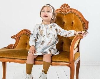 Baby girl peasant tunic top Baby girl tunic dress Cotton tunic dress Nautical party dress Reglan sleeve top Sea Shells print dress